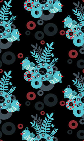Colorful seamless pattern with birds, flowers and abstract forms. Vector illustration of nature Stock Vector - 11747833
