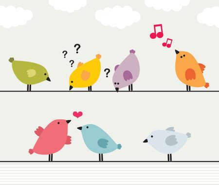 oiseau mouche: Vector illustration d'oiseaux color�s sur les fils. Illustration