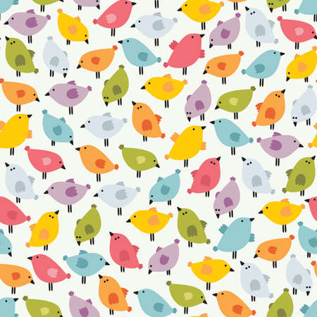 primitive: Seamless pattern with cute birds. Vector doodle background.