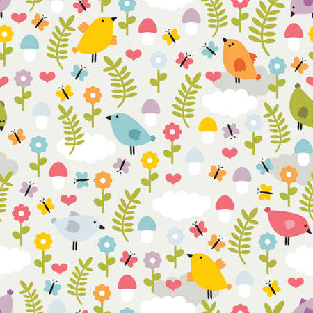 Cute seamless pattern with birds,flowers and mushrooms. Vector texture of nature