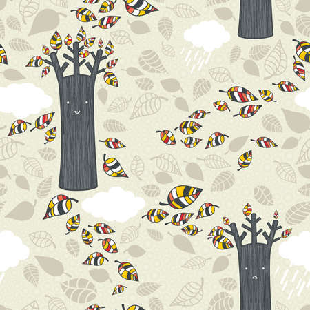 Autumn seamless pattern with leaves. Vector background illustration.