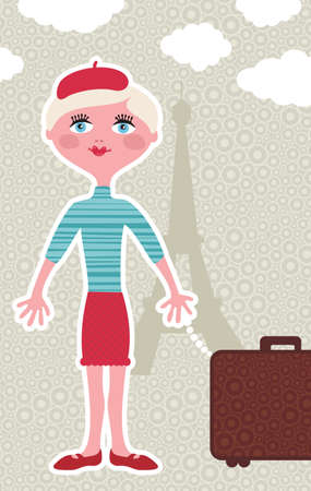 Traveling background with cute french girl in Paris. Vector