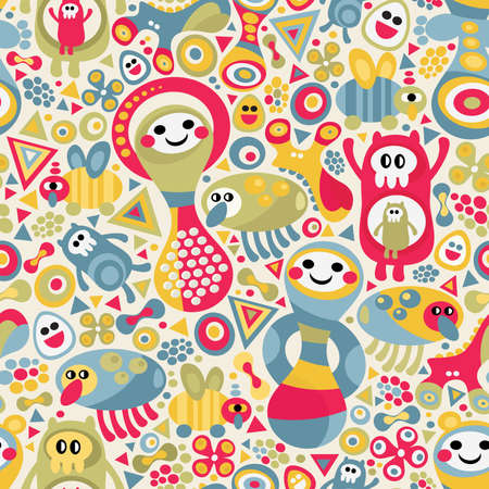Cute monsters seamless texture. Vector colorful pattern for you background. Ilustração