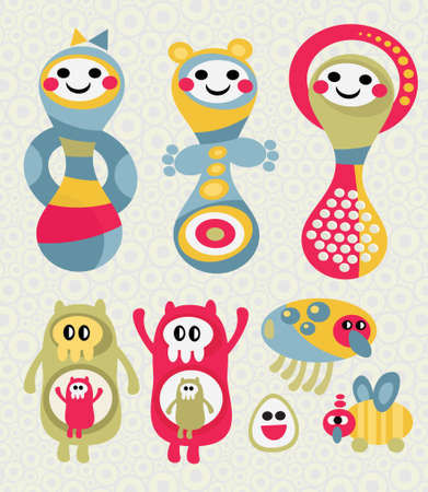 Set of cute and funny monsters. Vector doodle illustration. Stock Vector - 11749288
