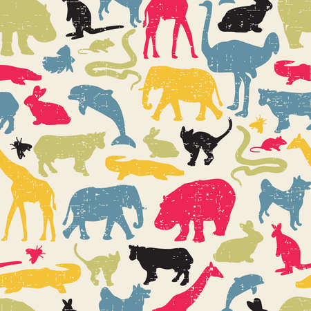 animal fauna: Animals silhouette seamless pattern. Vector texture in retro style.