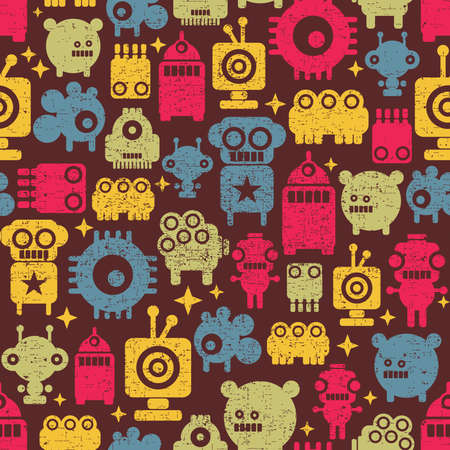 Robot and monsters cute seamless pattern. Vector