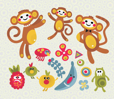 Set of cute and funny monsters and animals. Vector illustration.