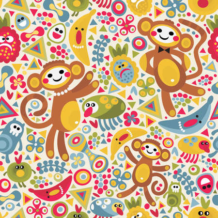 Cute monsters and animals seamless texture. Vector colorful pattern for you background.