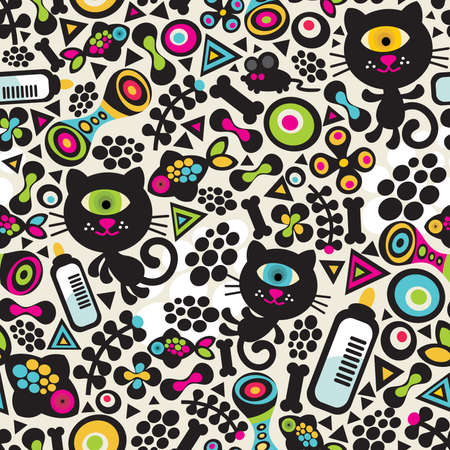 Cute monsters cats seamless pattern. Vector colorful texture for you background. Ilustração
