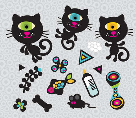 Set of cute and funny monsters and animals. Vector doodle illustration. Vector