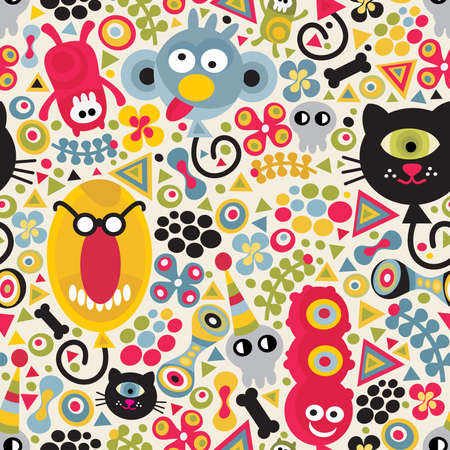 Cute monsters seamless pattern. Vector party texture for you background. Ilustração