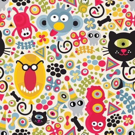 pattern monster: Mostri Cute seamless pattern. Vector texture festa per te sfondo.