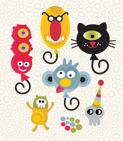 scull: Set of cute and funny monsters. Vector party illustration.