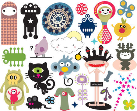 freaks: Mix of different vector images and icons. vol.16 Illustration