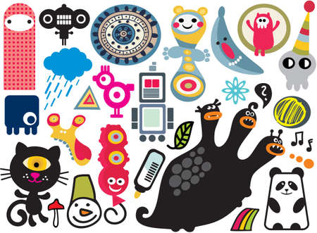 manga style: Mix of different vector images and icons. vol.17