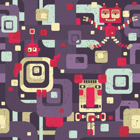 Robot seamless pattern in cartoon style. Vector retro texture. Vector