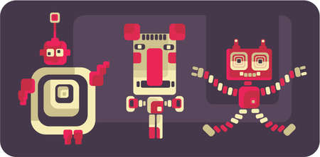 animated alien: Retro style robots and monsters. Vector cute illustration.
