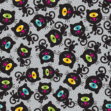 Cute monsters cats seamless pattern. Vector colorful texture with cyclops for you background. Illustration