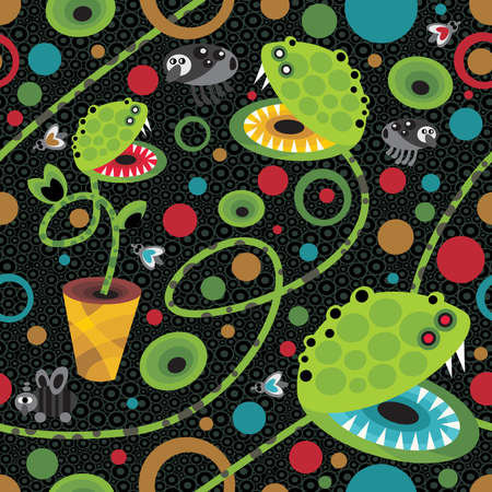 dragon fly: Cute plant monsters texture. Seamless vector pattern. Illustration