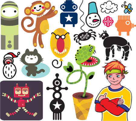 manga style: Mix of different vector images and icons. vol.19