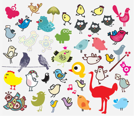 Big set of different cute birds (owl, ostrich, bullfinch, chicken ...). Vector icons for your design. Vector