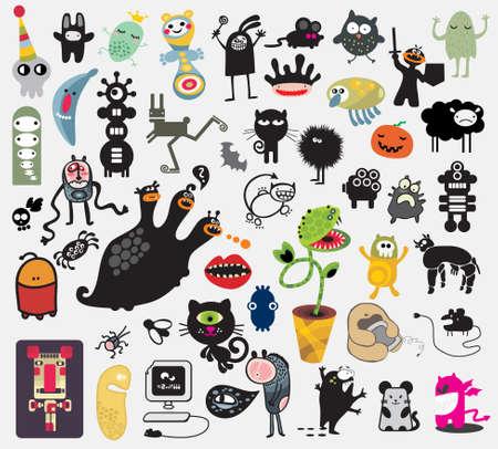 anime: Gran conjunto de diferentes monstruos lindos. Iconos vectoriales para su dise�o. Vectores