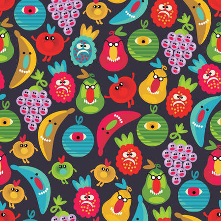 Cute monsters seamless texture. Vector pattern with fruits and berries.