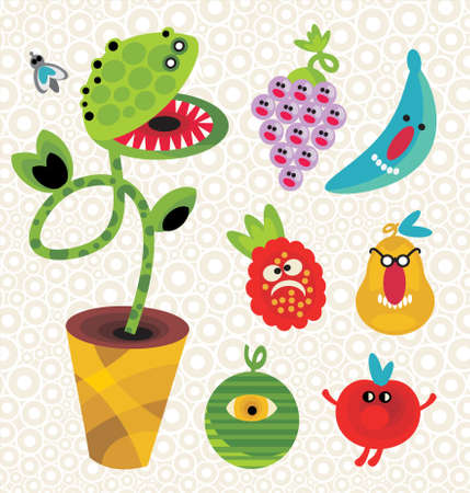 Set of cute plant monsters. Vector illustration for your background. Vector