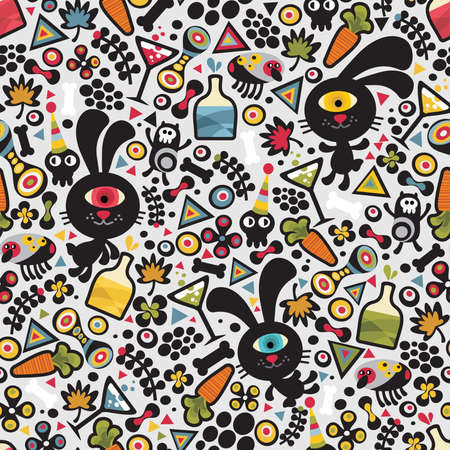 Cute monsters rabbit seamless pattern. Vector colorful texture for you background. Vector