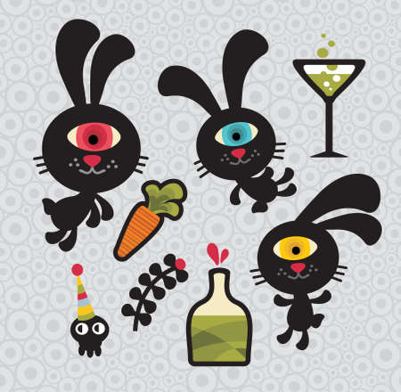 Set of cute and funny monsters rabbits. Vector doodle illustration. Stock Vector - 11749274