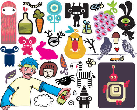 Mix of different vector images and icons. vol.20 Vector