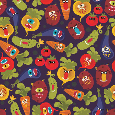 Cute monsters seamless texture. Vector pattern with vegetables. Vector
