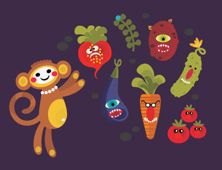 freaky: Set of cute vegetables monsters and a monkey. Vector illustration for your background. Illustration