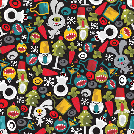 Seamless Christmas pattern with monsters. Vector texture. Vector