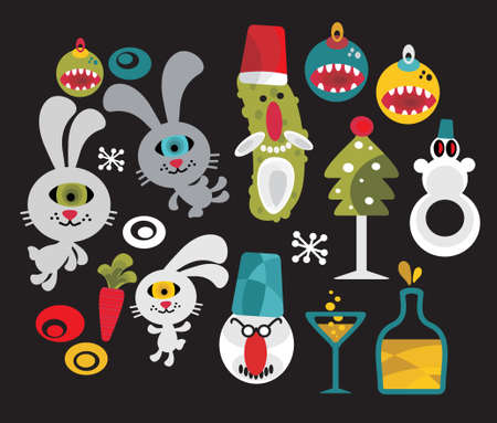 Set of cute and funny monsters for Christmas. Vector illustration. Vector