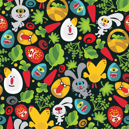 Seamless Easter background with monsters. Vector pattern. Vector