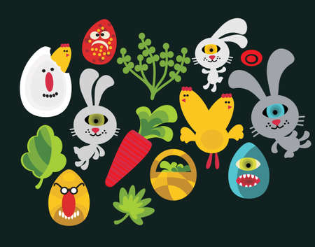 Easter characters for your design. Vector illustration. Vector