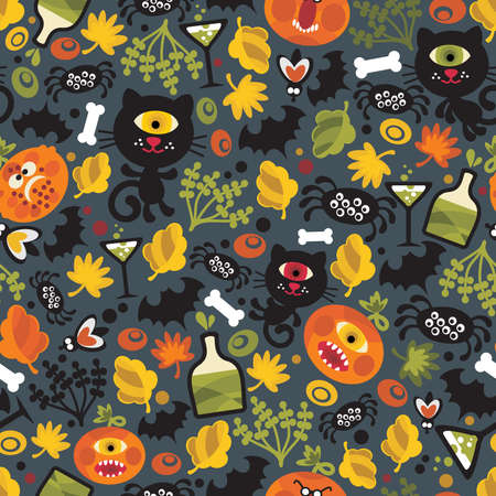 Seamless Halloween background with monsters. Vector pattern. Vector