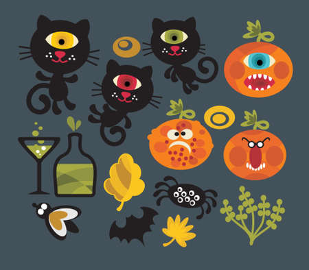 carved pumpkin: Set of cute monsters for Halloween. Vector illustration. Illustration