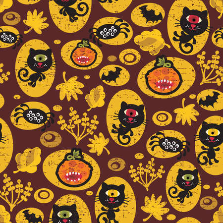 hallows: Seamless Halloween texture with black cat. Vector pattern.