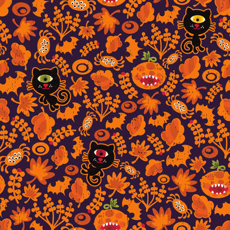 Seamless Halloween texture with black cat. Vector pattern for your background.