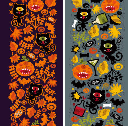 Two seamless vertical patterns with black cat, leaves and pumpkins. Vector Halloween texture. Vector