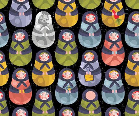 matriosca: Matreshka russian doll seamless pattern. Vector doodle illustration.