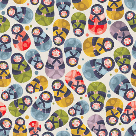 Matreshka toy seamless pattern. Vector doodle illustration. Vector