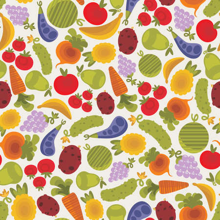 vegetable marrow: Seamless pattern with fruits and vegetables. Illustration