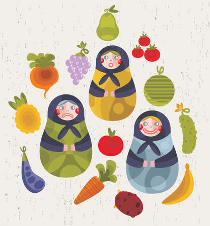 Matreshka doll and some fruits and vegetables for your design. Vector