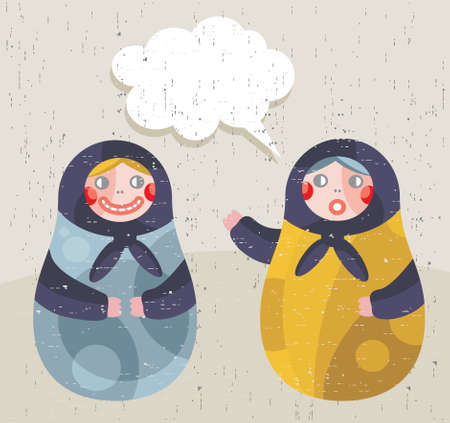 Matreshka doll - positive news. Vector