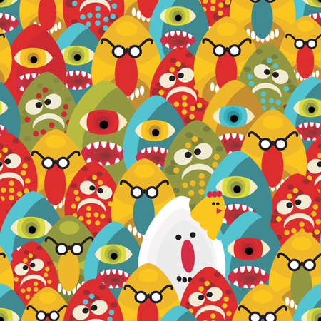 Crazy eggs monsters seamless pattern. Vector texture for your background. Vector
