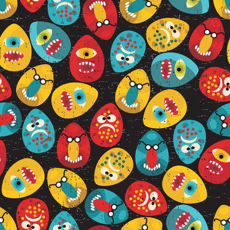 Crazy eggs monsters seamless pattern in retro style. Vector texture for your background. Vector