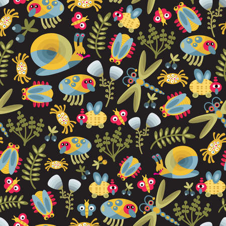 Insects world seamless texture. Vector ornament for your design. Vector